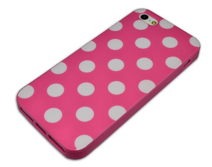 Slicoo iPhone 5   5S   SE silikonový kryt růžový s bílými puntíky  87e84845b16