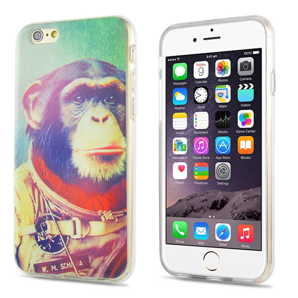 Slicoo iPhone 6 / 6S kryt Outer Space Chimpanzee TPU