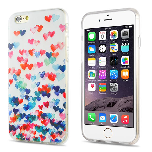 Slicoo iPhone 6 / 6S kryt Colorful Love Hearts TPU