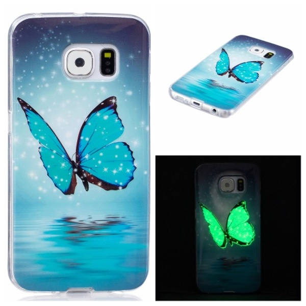Kryt na Samsung Galaxy S6 Edge svítící Butterfly with Stars & Snow
