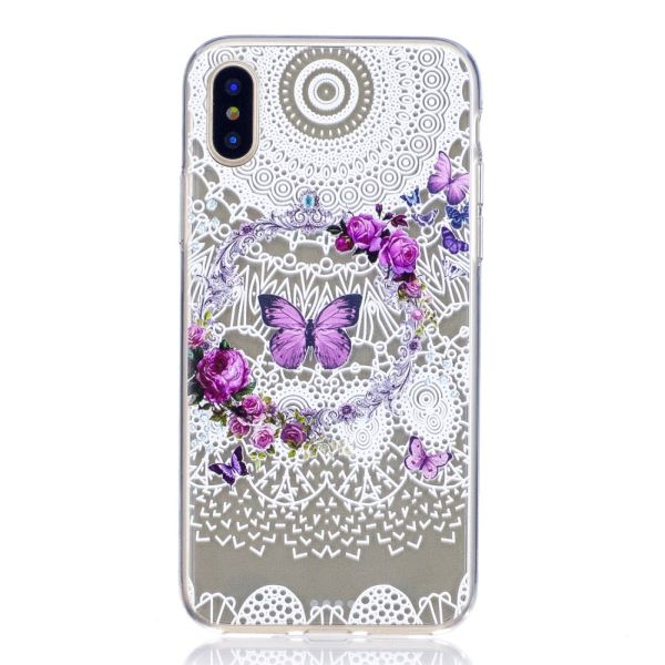 Kryt pro iPhone X / XS Butterfly and Floral Hoop